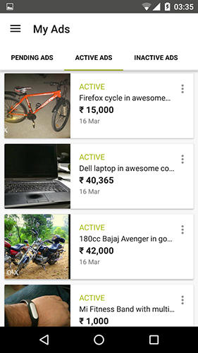 Screenshots of OLX.ua program for Android phone or tablet.