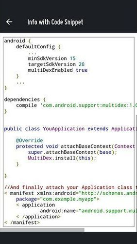 Screenshots of Options & Settings code snippets: Android & iOS program for Android phone or tablet.