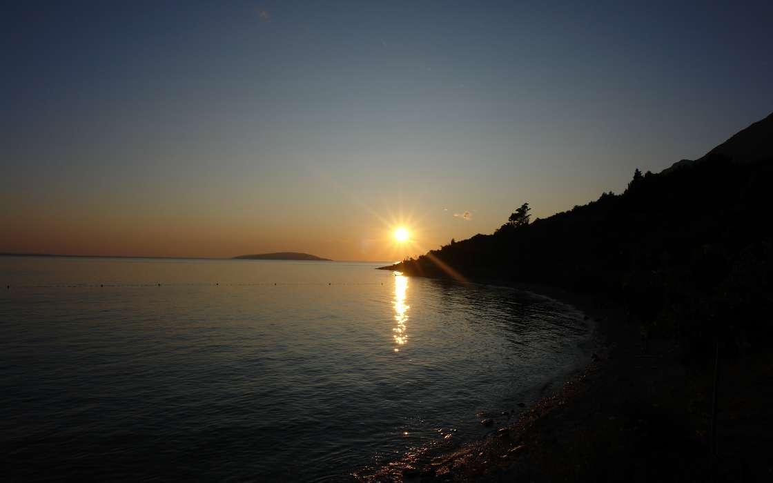 免费下载景观, 日落, 天空, 海, 太阳, 海滩手机壁纸.