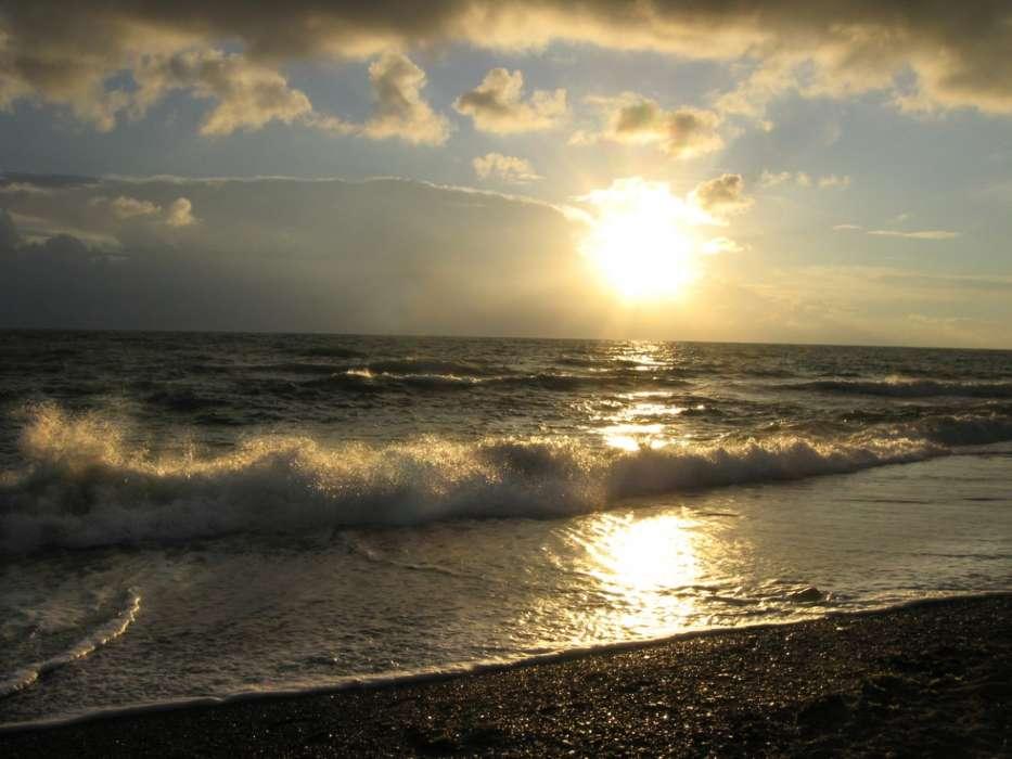 手机壁纸:景观, 日落, 海, 海滩, #28697