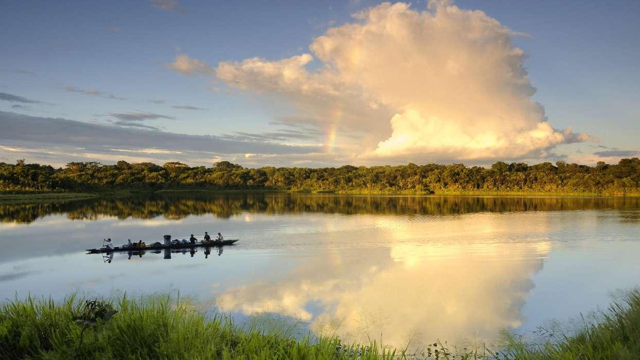 手机壁纸:景观, 河, 天空, 云, #26631