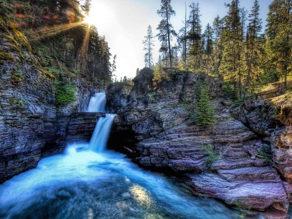 手机壁纸:景观, 水, 太阳, 瀑布, #4844