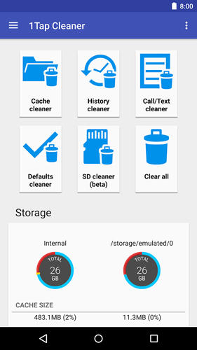 Capturas de tela do programa 1 tap cache cleaner em celular ou tablete Android.