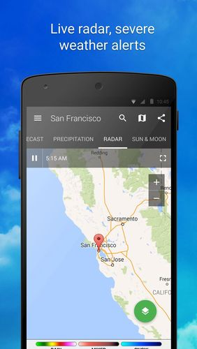 Screenshots of 1Weather program for Android phone or tablet.