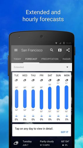 Capturas de pantalla del programa 1Weather para teléfono o tableta Android.