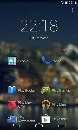 Screenshots of 2 tap launcher program for Android phone or tablet.