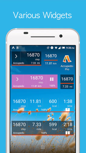 Capturas de tela do programa Accupedo: Pedometer em celular ou tablete Android.