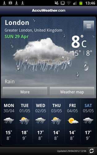Accu weather app for Android, download programs for phones and tablets for free.