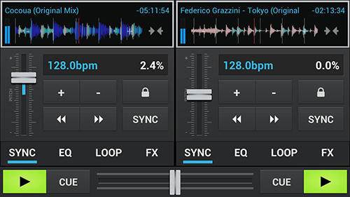 Screenshots of aDJ pro program for Android phone or tablet.