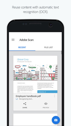Les captures d'écran du programme Adobe: Scan pour le portable ou la tablette Android.