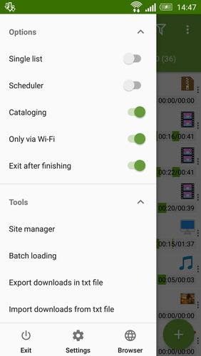 Les captures d'écran du programme Advanced download manager pour le portable ou la tablette Android.