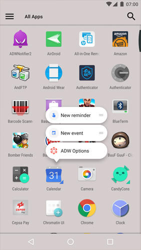 Capturas de tela do programa ADW: Launcher 2 em celular ou tablete Android.