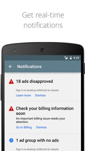 Les captures d'écran du programme AdWords pour le portable ou la tablette Android.