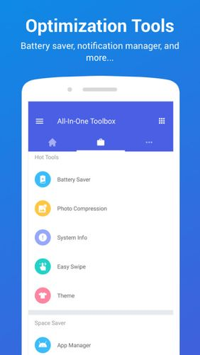 Aplicativo All-in-one Toolbox: Cleaner, booster, app manager para Android, baixar grátis programas para celulares e tablets.