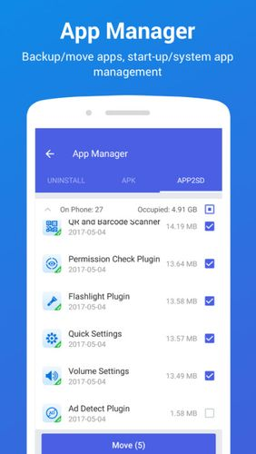 Screenshots of All-in-one Toolbox: Cleaner, booster, app manager program for Android phone or tablet.