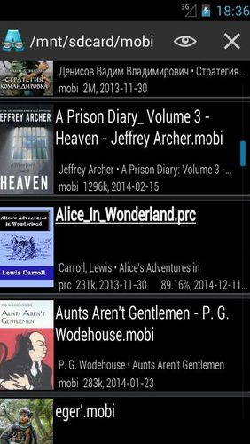 Screenshots of AlReader - Any text book reader program for Android phone or tablet.