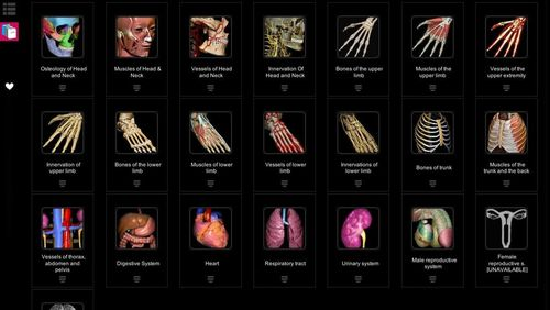 Screenshots des Programms Anatomy learning - 3D atlas für Android-Smartphones oder Tablets.