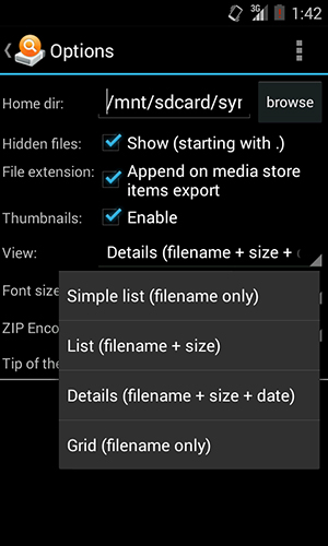 Screenshots of And explorer program for Android phone or tablet.