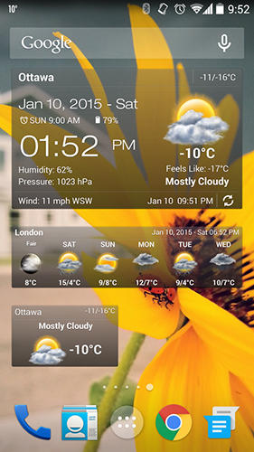 Capturas de pantalla del programa Weather and clock widget para teléfono o tableta Android.