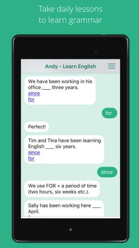 Les captures d'écran du programme Andy - English speaking bot pour le portable ou la tablette Android.