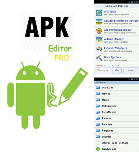 Besides Gravity screen Android program you can download Apk editor pro for Android phone or tablet for free.