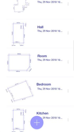 Screenshots des Programms AR plan 3D ruler – Camera to plan, floorplanner für Android-Smartphones oder Tablets.