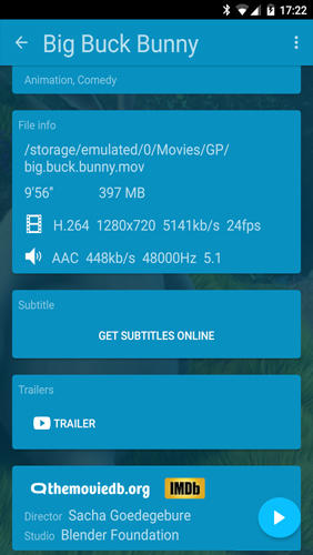 Screenshots of KM player program for Android phone or tablet.