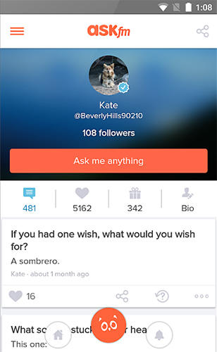 Screenshots of Ask.fm program for Android phone or tablet.