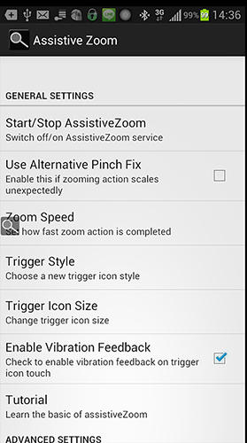 Screenshots of Assistive zoom program for Android phone or tablet.