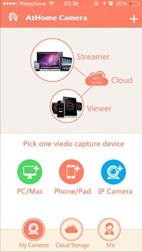 Screenshots des Programms AtHome camera: Home security für Android-Smartphones oder Tablets.