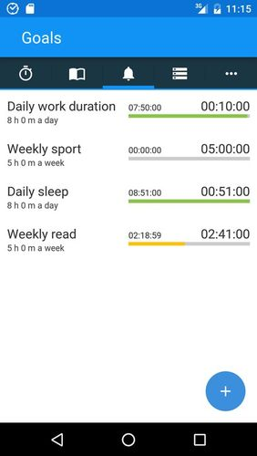 Screenshots of aTimeLogger - Time tracker program for Android phone or tablet.