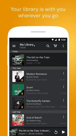 Screenshots of Audiobooks from Audible program for Android phone or tablet.