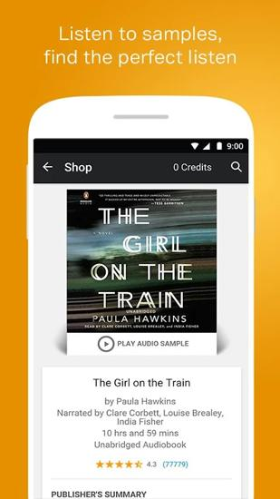 Les captures d'écran du programme Audiobooks from Audible pour le portable ou la tablette Android.