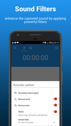 Скріншот програми AudioRec: Voice Recorder на Андроїд телефон або планшет.