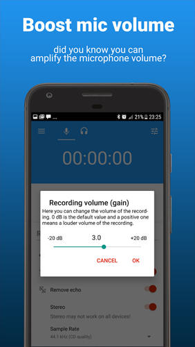 Les captures d'écran du programme AudioRec: Voice Recorder pour le portable ou la tablette Android.