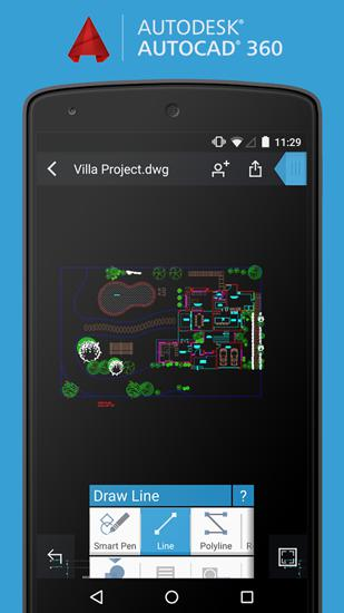 Capturas de tela do programa AutoCAD em celular ou tablete Android.
