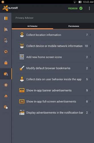 Screenshots des Programms Avast: Mobile security für Android-Smartphones oder Tablets.