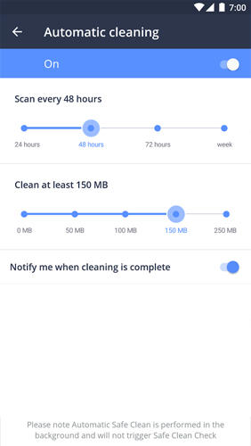 Screenshots of Avast Cleanup program for Android phone or tablet.