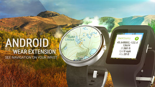 Screenshots of Back Country Navigator program for Android phone or tablet.