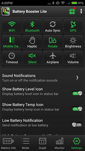 Capturas de tela do programa Battery booster em celular ou tablete Android.