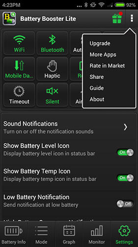 Screenshots of Battery booster program for Android phone or tablet.