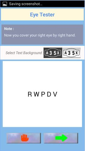 Les captures d'écran du programme Best eye tester pour le portable ou la tablette Android.