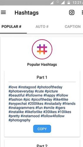 Best hashtags captions & photosaver for Instagram app for Android, download programs for phones and tablets for free.