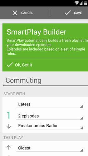 Les captures d'écran du programme BeyondPod podcast manager pour le portable ou la tablette Android.