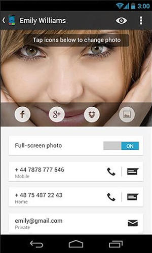 Screenshots of Big caller ID program for Android phone or tablet.