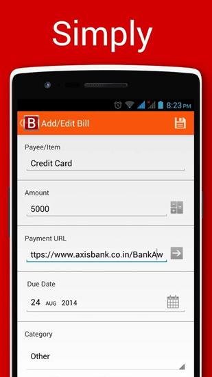 Screenshots of Bills Reminder program for Android phone or tablet.