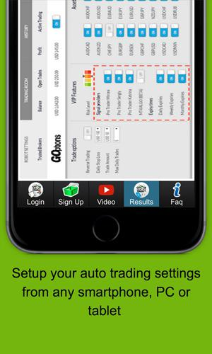 Screenshots of Binary Options Robot program for Android phone or tablet.