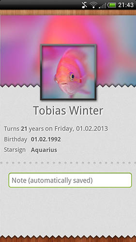 Capturas de tela do programa Birthdays em celular ou tablete Android.