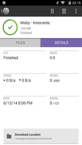 Screenshots of BitTorrent Loader program for Android phone or tablet.