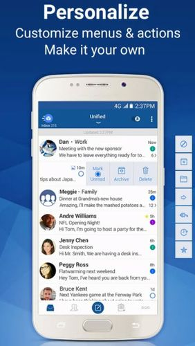 Capturas de tela do programa Blue mail: Email em celular ou tablete Android.
